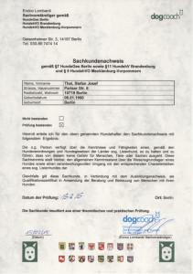 Hundetrainer Stefan Thal - Sachkundenachweis